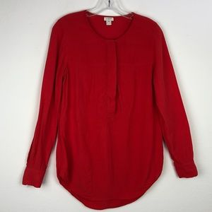 J.Crew red long sleeve button down blouse top XS